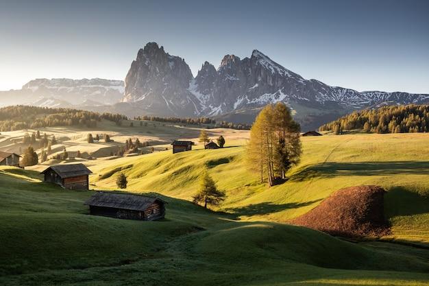 Пейзаж сейзер альм возле гор группы лангкофель под солнечным светом в италии