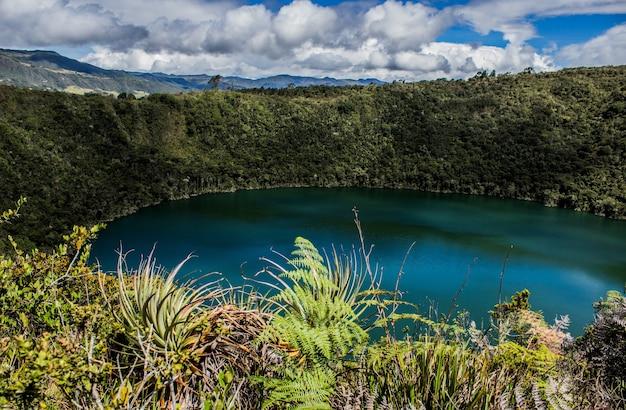 콜롬비아의 햇빛 아래 녹지로 둘러싸인 laguna del cacique guatavita의 풍경