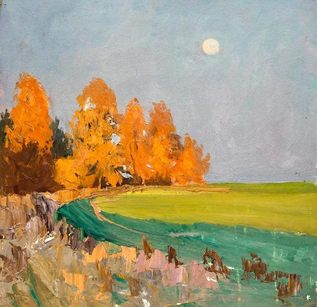 風景、油絵、手作りのデッサン