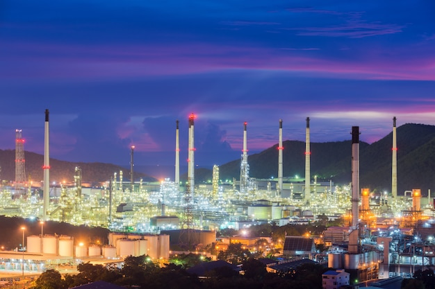 Landscape of oil refinery industry or petroleum industry with oil storage tank