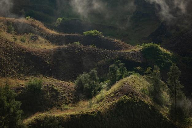風景。火山バトゥール山。バリ。インドネシア