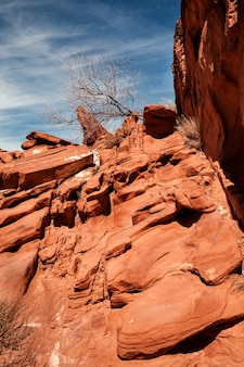 Landscape of orange rock formations at valley of fire state park in southern nevada