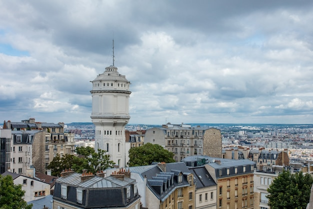 Landscape of paris with a beautiful view from the top of the european historical quarters