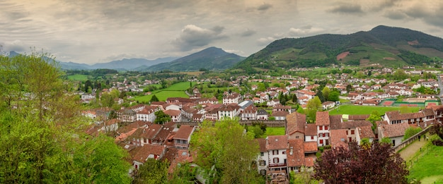 Landscape of pays basque, saint jean pied de port in the south of france
