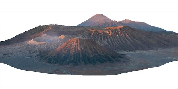 Landscape of peak bromo mountain isolated
