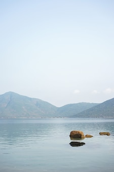 A landscape photo of whale island, vietnam