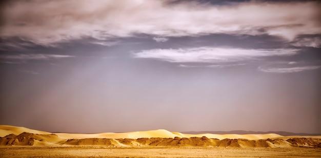 サハラ砂漠のオアシスの砂丘と石の風景写真。アフリカ、チュニジア、トズール市の近くの、砂丘、植生、雲のある青い空のある広大な砂漠の眺め