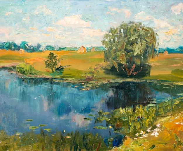 Пейзаж, картина природы, картина маслом, рисунок ручной работы
