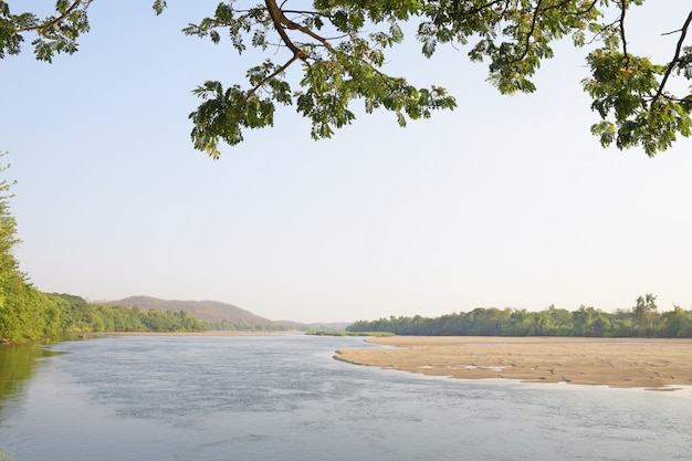 Landscape of ping river with mountain and blue sky at tak province.