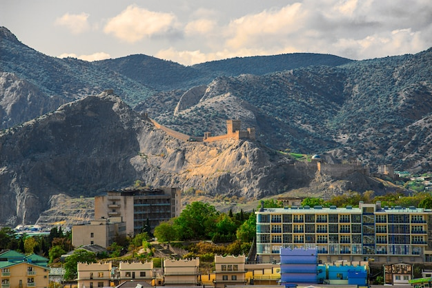 Landscape of the resort town of sudak in the crimea with a view of the genoese fortress;