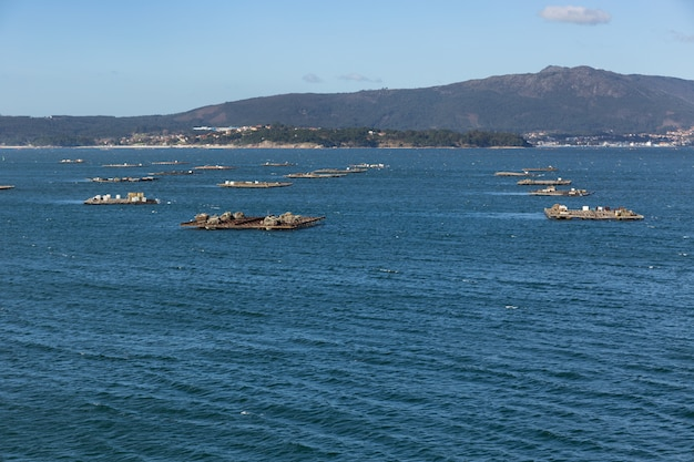 Landscape of the ria de arousa with numerous platforms for the cultivation of mussels floating in the sea. illa de arousa, galicia, spain