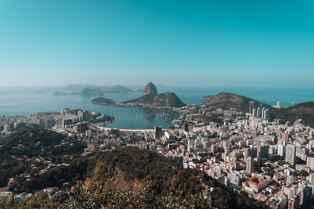 Landscape of rio de janeiro surrounded by the sea under a blue sky in brazil