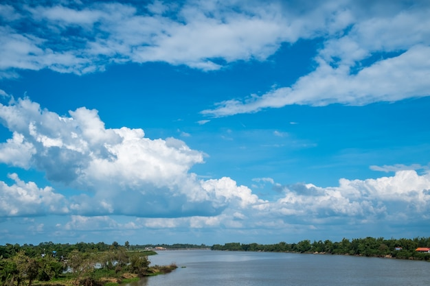 Landscape river with blue sky, beautiful scenery.