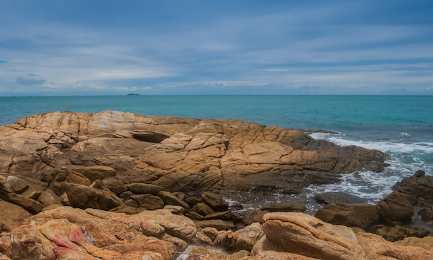 Landscape of rocks and beaches in the summer