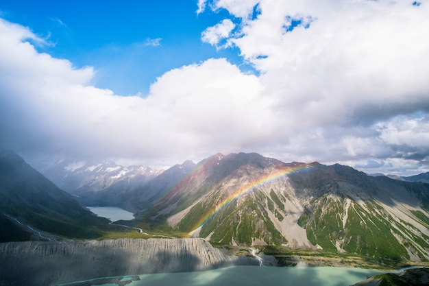 Landscape of rocky mountain and rainbow