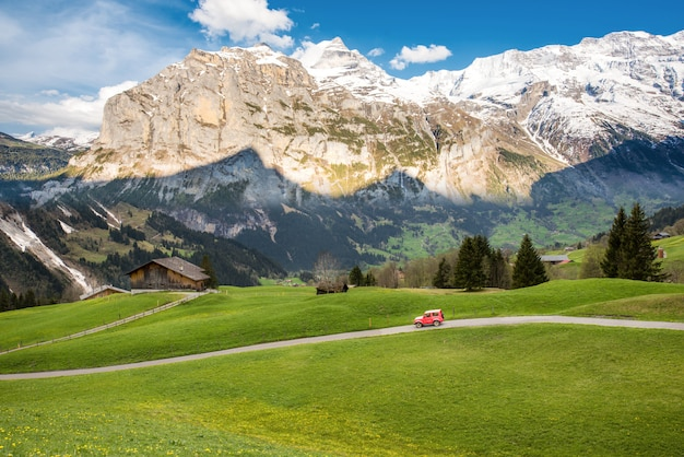 Landscape scene from first to grindelwald, bernese oberland, switzerland