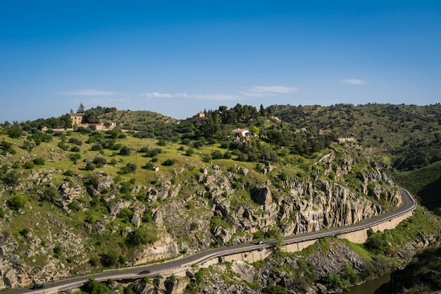 Landscape scene with road on hill in toledo in spain