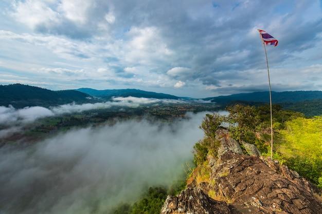 Landscape sea of mist on high mountain in nakornchoom, phitsanulok province, thailand.