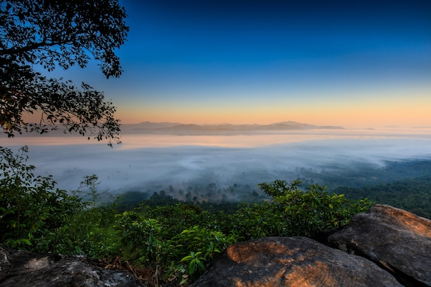 Landscape sea of mist on the mountain in nongkhai province  thailand.