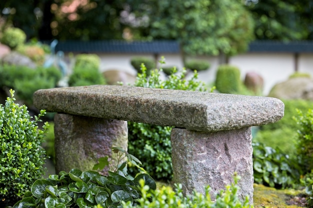 Landscape shot of stone bench in a tropical garden on a spring day