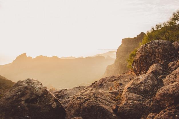 Landscape shot taken at serpentine road in masca, spain