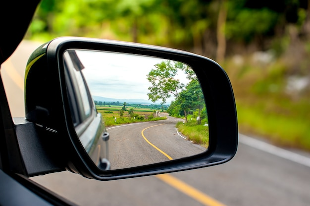 Landscape in the sideview mirror