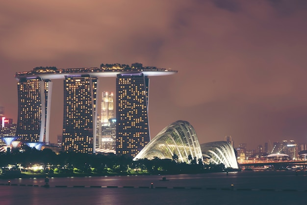 Landscape of singapore business modern building around marina