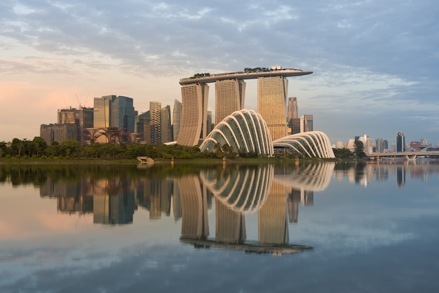 Landscape of the singapore financial district in marina bay, singapore.