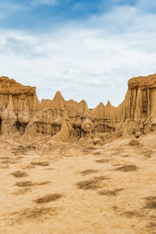 Landscape of soil textures eroded sandstone pillars, columns and cliffs,