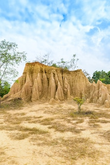 Landscape of soil textures eroded sandstone pillars, columns and cliffs