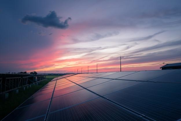 Landscape of solar farm at sunset