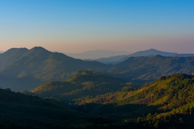 Landscape of sunrise on mountain at  of  doi pha phueng ,nan,thailand