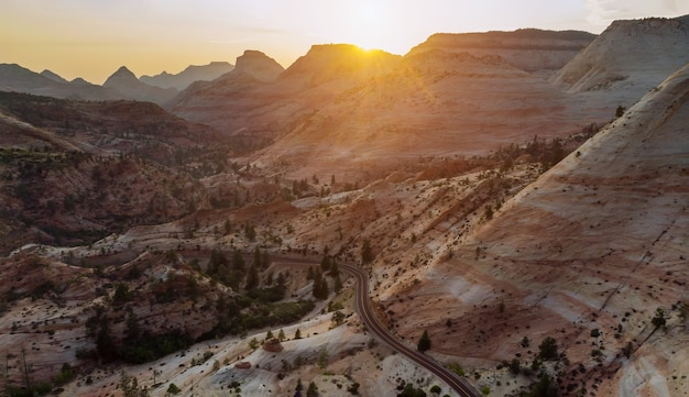 Landscape sunset in beautiful zion canyon national park in utah
