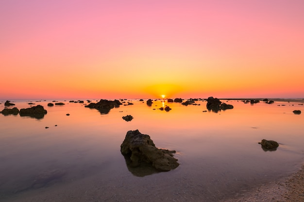 Landscape sunset at cape coral  in the andama n sea at phang nga,southern of thailand