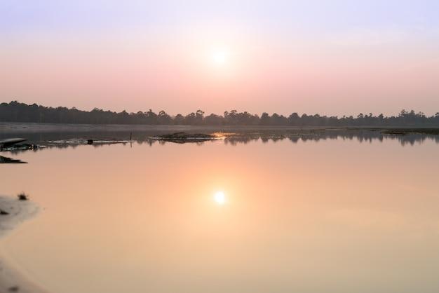 Landscape sunset on the riverside, roi et, thailand