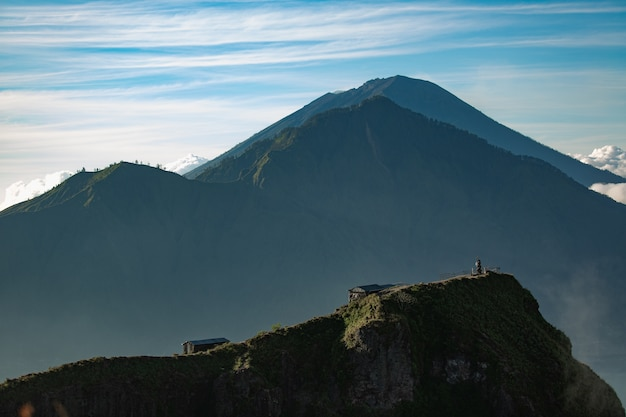 Landscape. temple in the clouds on the top of batur volcano. bali indonesia