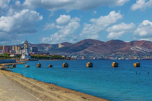 Landscape of tsemesskaya bay and the city of novorossiysk