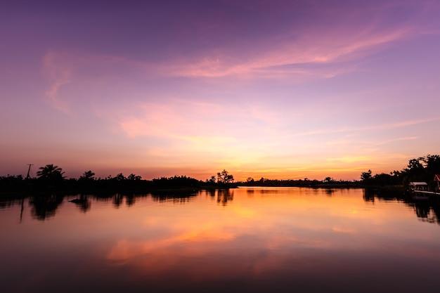 Landscape twilight river and sky dark art photo