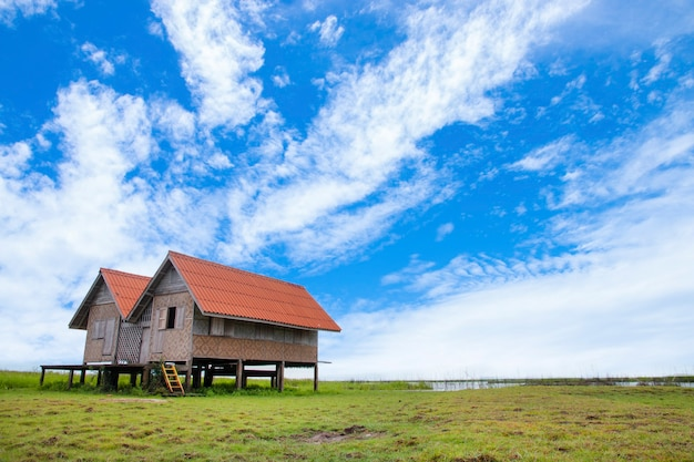 Landscape of twin old house on wetland at talay noi lake phatthalung province in southern of thailand.