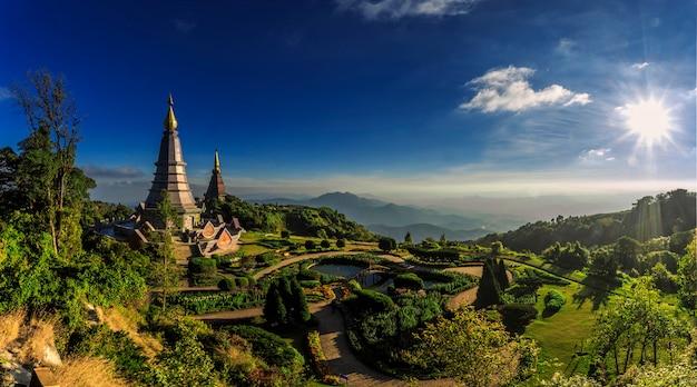 Landscape of twin stupa at doi inthanon national park.