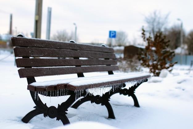 겨울의 첫 눈이 오는 날 풍경 도시 중앙 공원