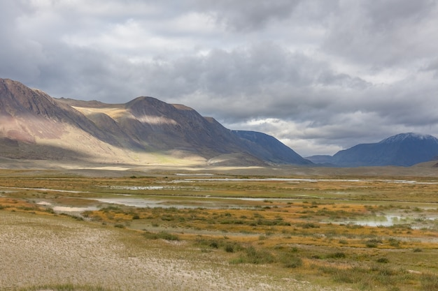 Landscape of valley in rolling hills of western mongolian steppe
