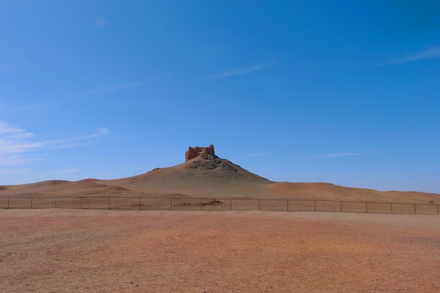 Landscape view of ancient yangguan pass on the silk road in gansu china