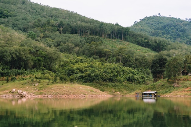 Landscape view of bang lang reservoir with house raft in the lagoon and forest.
