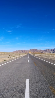 Landscape view of beautiful blue sky and high way road in gansu cina