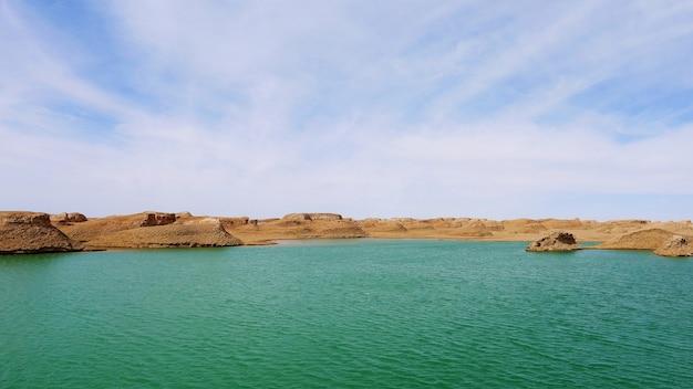 Landscape view of dachaidan wusute water yadan geological park in qinghai china