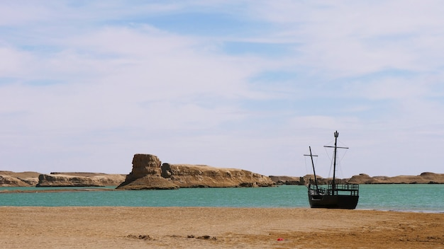 Landscape view of dachaidan wusute water yadan geological park and ship relic in qinghai china