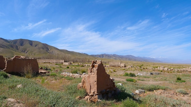 Landscape view of desert small town, a filming location in gansu china