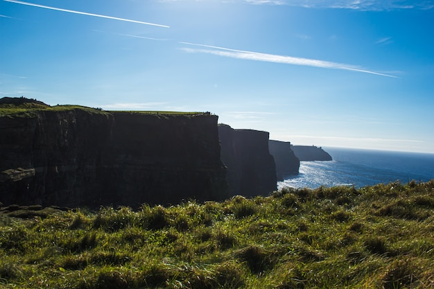 Landscape view down the cliffs of moher
