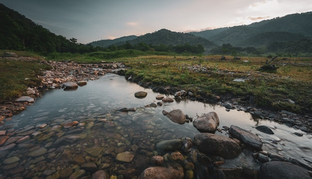Landscape view of fresh water stream in the mountains